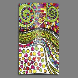 Doodle Kritzel bunt Designer Wanduhr modernes Wanduhren...