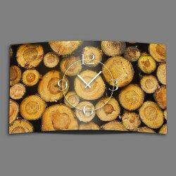 Holz Scheite Designer Wanduhr modernes Wanduhren Design leise kein ticken dixtime 3D-0152