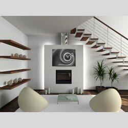 Wanduhr XXL 3D Optik Dixtime abstrakt schwarz grau 50x70...