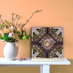 Tischuhr 30cmx30cm inkl. Alu-Ständer -orientalisches Design Motiv Marokko-Fliese geräuschloses Quarzuhrwerk -Wanduhr-Standuhr TU3775 DIXTIME