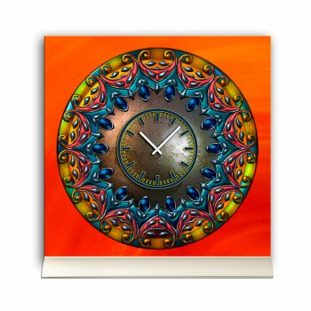 Tischuhr 30cmx30cm inkl. Alu-Ständer -antikes Design Artefakt Rosette  geräuschloses Quarzuhrwerk -Wanduhr-Standuhr TU3787 DIXTIME