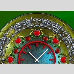 Tischuhr 30cmx30cm inkl. Alu-Ständer -antikes Design Mittelalter Artefakt grün  geräuschloses Quarzuhrwerk -Wanduhr-Standuhr TU3788 DIXTIME