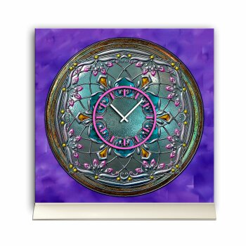 Tischuhr 30cmx30cm inkl. Alu-Ständer -antikes Design Bronze Artefakt lila geräuschloses Quarzuhrwerk -Wanduhr-Standuhr TU3790 DIXTIME