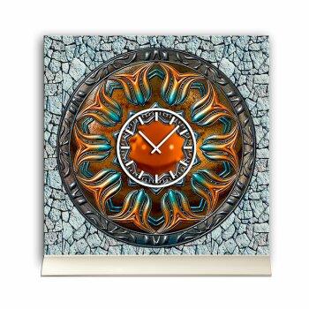 Tischuhr 30cmx30cm inkl. Alu-Ständer -antikes Design Steampunk Artefakt Bronze geräuschloses Quarzuhrwerk -Wanduhr-Standuhr TU3792 DIXTIME