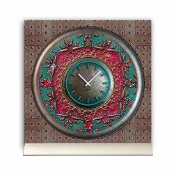 Tischuhr 30cmx30cm inkl. Alu-Ständer -antikes Design Steampunk Artefakt   geräuschloses Quarzuhrwerk -Wanduhr-Standuhr TU3793 DIXTIME