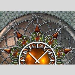 Tischuhr 30cmx30cm inkl. Alu-Ständer -antikes Design Mittelalter Artefakt Steampunk geräuschloses Quarzuhrwerk -Wanduhr-Standuhr TU3795 DIXTIME