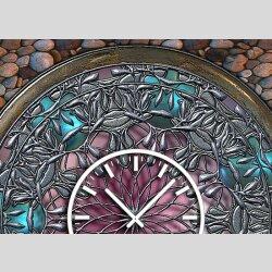 Tischuhr 30cmx30cm inkl. Alu-Ständer -antikes Design bronze Artefakt Rosette geräuschloses Quarzuhrwerk -Wanduhr-Standuhr TU3796 DIXTIME