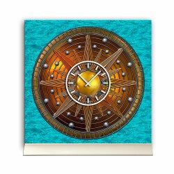 Tischuhr 30cmx30cm inkl. Alu-Ständer -antikes Design Mittelalter Artefakt Steampunk Sonne geräuschloses Quarzuhrwerk -Wanduhr-Standuhr TU3797 DIXTIME