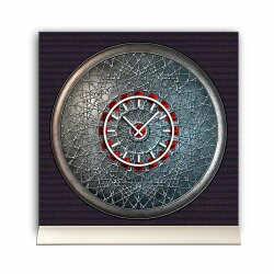 Tischuhr 30cmx30cm inkl. Alu-Ständer -antikes Design  Artefakt Mittelalter Steampunk geräuschloses Quarzuhrwerk -Wanduhr-Standuhr TU3799 DIXTIME