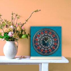 Tischuhr 30cmx30cm inkl. Alu-Ständer -antikes Design bronze Artefakt Mittelalter  geräuschloses Quarzuhrwerk -Wanduhr-Standuhr TU3800 DIXTIME