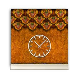 Tischuhr 30cmx30cm inkl. Alu-Ständer -antikes Design Fresko Brordüre geräuschloses Quarzuhrwerk -Wanduhr-Standuhr TU3838 DIXTIME