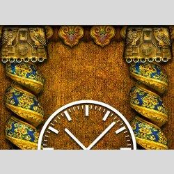 Tischuhr 30cmx30cm inkl. Alu-Ständer -antikes Design Säulen Orient  geräuschloses Quarzuhrwerk -Wanduhr-Standuhr TU3840 DIXTIME