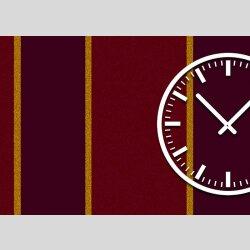 Tischuhr 30cmx30cm inkl. Alu-Ständer -modernes Design Streifen rot bordeaux geräuschloses Quarzuhrwerk -Wanduhr-Standuhr TU3843 DIXTIME