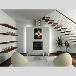 Wanduhr XXL 3D Optik Dixtime abstrakt schwarz orange...
