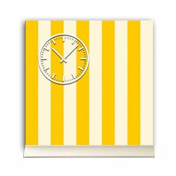 Tischuhr 30cmx30cm inkl. Alu-Ständer -modernes Design Streifen gelb weiß  geräuschloses Quarzuhrwerk -Wanduhr-Standuhr TU3845 DIXTIME