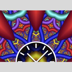 Tischuhr 30cmx30cm inkl. Alu-Ständer -abstraktes Design Cyber Techno bunt geräuschloses Quarzuhrwerk -Wanduhr-Standuhr TU3864 DIXTIME