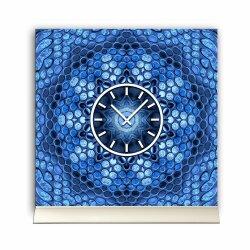 Tischuhr 30cmx30cm inkl. Alu-Ständer -modernes Design Motiv blaue Kiesel  geräuschloses Quarzuhrwerk -Wanduhr-Standuhr TU3867 DIXTIME