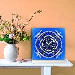 Tischuhr 30cmx30cm inkl. Alu-Ständer -abstraktes Design Cyber Techno blau  geräuschloses Quarzuhrwerk -Wanduhr-Standuhr TU3868 DIXTIME