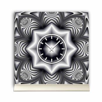 Tischuhr 30cmx30cm inkl. Alu-Ständer -abstraktes Design Cyber Stern grau geräuschloses Quarzuhrwerk -Wanduhr-Standuhr TU3869 DIXTIME