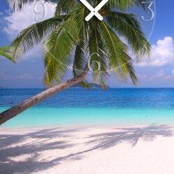 Wanduhr XXL 3D Optik Dixtime Strand Palme 50x70 cm leises Uhrwerk GR-007