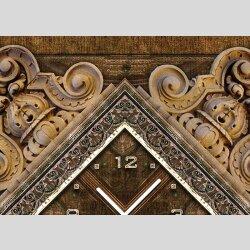 Tischuhr 30cmx30cm inkl. Alu-Ständer -antikes Design Motiv Holz Relief Schnitzerei geräuschloses Quarzuhrwerk -Wanduhr-Standuhr TU3956 DIXTIME