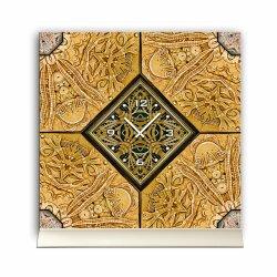 Tischuhr 30cmx30cm inkl. Alu-Ständer -antikes Design  Steinflilesen-Muster geräuschloses Quarzuhrwerk -Wanduhr-Standuhr TU3959 DIXTIME