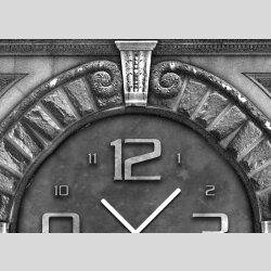 Tischuhr 30cmx30cm inkl. Alu-Ständer -antikes Design  Granitmuster Steinplatte geräuschloses Quarzuhrwerk -Wanduhr-Standuhr TU3962 DIXTIME