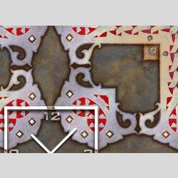 Tischuhr 30cmx30cm inkl. Alu-Ständer -antikes Design  Vintage Fliesenmuster geräuschloses Quarzuhrwerk -Wanduhr-Standuhr TU3965 DIXTIME