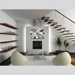 Wanduhr XXL 3D Optik Dixtime abstrakt weiß schwarz...