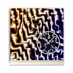 Tischuhr 30cmx30cm inkl. Alu-Ständer -modernes Design blau beige geräuschloses Quarzuhrwerk -Wanduhr-Standuhr TU3974 DIXTIME