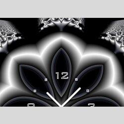 Tischuhr 30cmx30cm inkl. Alu-Ständer -abstraktes Design Blume schwarz  geräuschloses Quarzuhrwerk -Wanduhr-Standuhr TU3997 DIXTIME