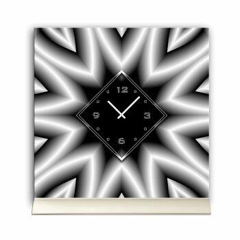 Tischuhr 30cmx30cm inkl. Alu-Ständer -abstraktes Design hellgrau schwarz  geräuschloses Quarzuhrwerk -Wanduhr-Standuhr TU3999 DIXTIME