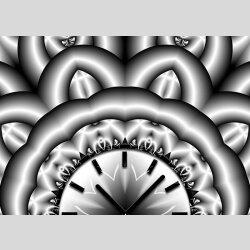 Tischuhr 30cmx30cm inkl. Alu-Ständer -abstraktes Design silbergrau  geräuschloses Quarzuhrwerk -Wanduhr-Standuhr TU4066 DIXTIME