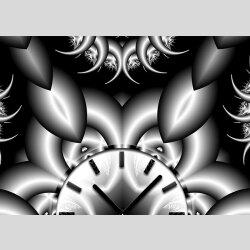 Tischuhr 30cmx30cm inkl. Alu-Ständer -abstraktes Design Fraktal  schwarz grau  geräuschloses Quarzuhrwerk -Wanduhr-Standuhr TU4067 DIXTIME