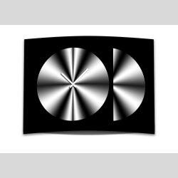 Wanduhr XXL 3D Optik Dixtime schwarz weiß Kreis 50x70 cm leises Uhrwerk GR-005