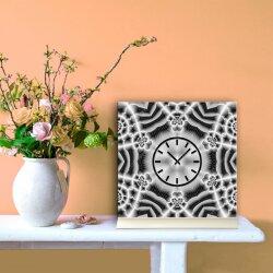 Tischuhr 30cmx30cm inkl. Alu-Ständer -abstraktes Design Kaleidoskop anthrazit  geräuschloses Quarzuhrwerk -Wanduhr-Standuhr TU4068 DIXTIME