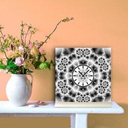 Tischuhr 30cmx30cm inkl. Alu-Ständer -abstraktes Design grau geräuschloses Quarzuhrwerk -Wanduhr-Standuhr TU4069 DIXTIME