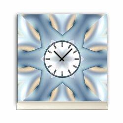 Tischuhr 30cmx30cm inkl. Alu-Ständer -abstraktes Design Stern eisblau  geräuschloses Quarzuhrwerk -Wanduhr-Standuhr TU4070 DIXTIME