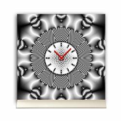 Tischuhr 30cmx30cm inkl. Alu-Ständer -abstraktes Design metallic grau  geräuschloses Quarzuhrwerk -Wanduhr-Standuhr TU4073 DIXTIME