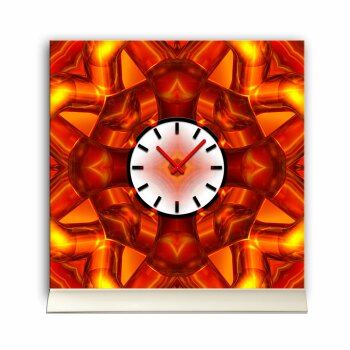 Tischuhr 30cmx30cm inkl. Alu-Ständer -abstraktes Design rot orange  geräuschloses Quarzuhrwerk -Wanduhr-Standuhr TU4074 DIXTIME