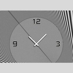 Tischuhr 30cmx30cm inkl. Alu-Ständer -abstraktes Design Streifen grau  geräuschloses Quarzuhrwerk -Wanduhr-Standuhr TU4077 DIXTIME