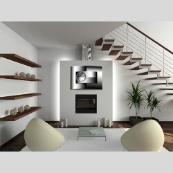 Wanduhr XXL 3D Optik Dixtime modern schwarz weiß 50x70 cm leises Uhrwerk GR-004