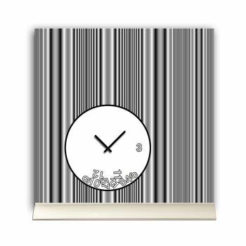 Tischuhr 30cmx30cm inkl. Alu-Ständer -modernes Design Streifen grau geräuschloses Quarzuhrwerk -Wanduhr-Standuhr TU4079 DIXTIME