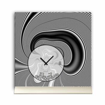 Tischuhr 30cmx30cm inkl. Alu-Ständer -modernes Design schwarz grau marmoriert  geräuschloses Quarzuhrwerk -Wanduhr-Standuhr TU4082 DIXTIME