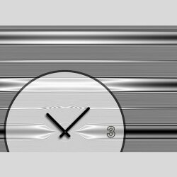 Tischuhr 30cmx30cm inkl. Alu-Ständer -modernes Design Streifen grau anthrazit  geräuschloses Quarzuhrwerk -Wanduhr-Standuhr TU4083 DIXTIME