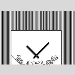Tischuhr 30cmx30cm inkl. Alu-Ständer -modernes Design Streifen grau geräuschloses Quarzuhrwerk -Wanduhr-Standuhr TU4084 DIXTIME