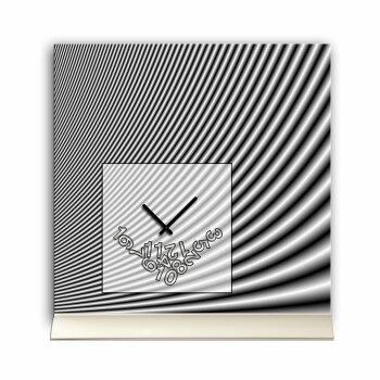 Tischuhr 30cmx30cm inkl. Alu-Ständer -modernes Design grau  geräuschloses Quarzuhrwerk -Wanduhr-Standuhr TU4085 DIXTIME