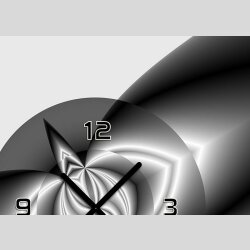 Tischuhr 30cmx30cm inkl. Alu-Ständer -abstraktes Design grau anthrazit geräuschloses Quarzuhrwerk -Wanduhr-Standuhr TU4086 DIXTIME