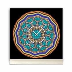 Tischuhr 30cmx30cm inkl. Alu-Ständer -abstraktes Design Kaleidoskop türkis bunt  geräuschloses Quarzuhrwerk -Wanduhr-Standuhr TU4090 DIXTIME