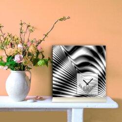 Tischuhr 30cmx30cm inkl. Alu-Ständer -modernes Design schwarz grau  geräuschloses Quarzuhrwerk -Wanduhr-Standuhr TU4093 DIXTIME